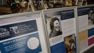 An exhibit featuring Virginia Hamilton and Anna Arnold Hedgeman is on display in the library