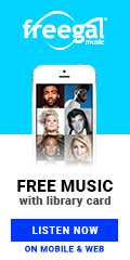 Freegal music logotext: free music with library card listen now on mobile and web