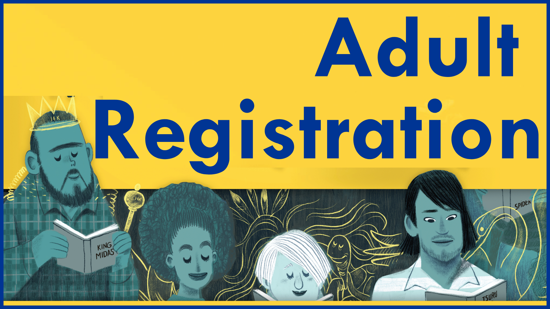 illustration of folks reading, Adult Registration