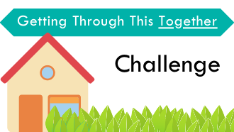 drawing of a house text:getting through this together