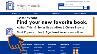 find your new favorite book text pointing to novelist on a picture of the website