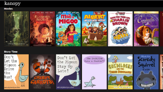 covers of kids books and video available on kanopy for kids