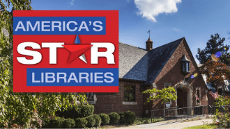 Photo of  the front of wright library and a  star library logo